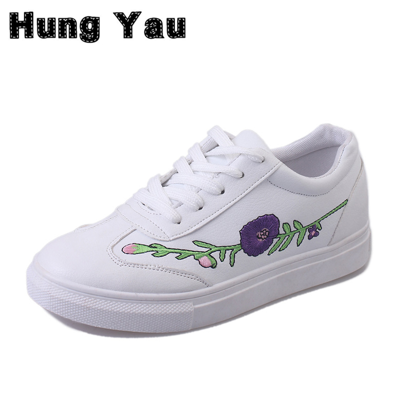 Fashion Embroidery Women Flats Flower PU   Comfortable Walking Shoes Spring Chinese Style Flat Shoes Sapato Feminino Plus Size 9<br><br>Aliexpress