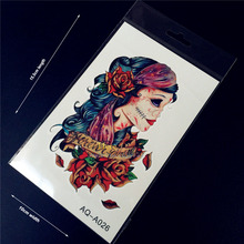 1PC Old School Tattoos Rose Ghost Witch Wounded Women Design Flash Waterproof Tattoo Arm Sleeve Temporary Tattoo Stickers HAQA26
