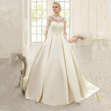 2016 Elegant Simple Long Sleeve Wedding Dresses with Lace High Neck Puffy Backless Bridal Gowns Vestido De Noiva