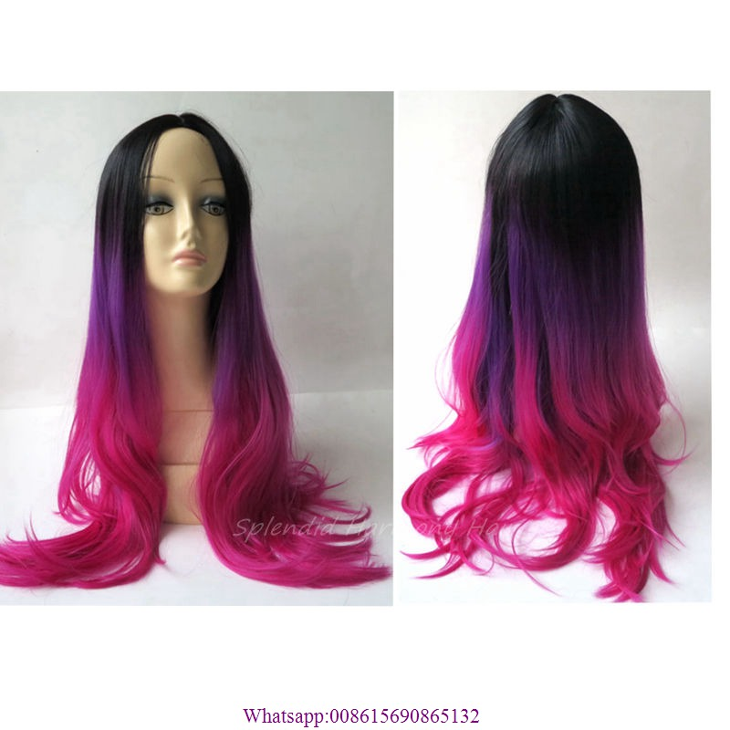 1Pcs Ombre Black Purple Fuchsia Color  Synthetic Wig Woman Long Curly Wavy Hair Full Wigs Cosplay Wig For Black Women  <br><br>Aliexpress