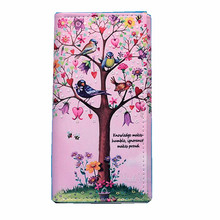 M326 Fashion Prints Forest Animal Women Long Wallet The Pattern Is Fresh And Pink Is Lovely PU Hasp Standard Wallets(China)