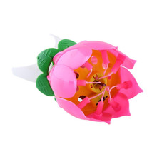Hotsale Romantic Musical Lotus Flower Happy Birthday Party Gift Music Candle Lights Birthday Candle