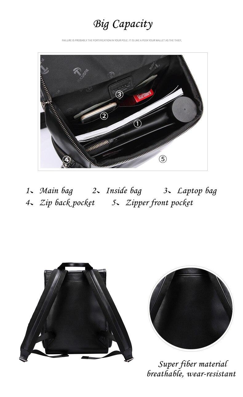 P.KUONE 2018 New Design Uncle Walk Dog Backpack Best Genuine Leather Laptop Shoulder Bag Men Travel Waterproof Travel School Bag