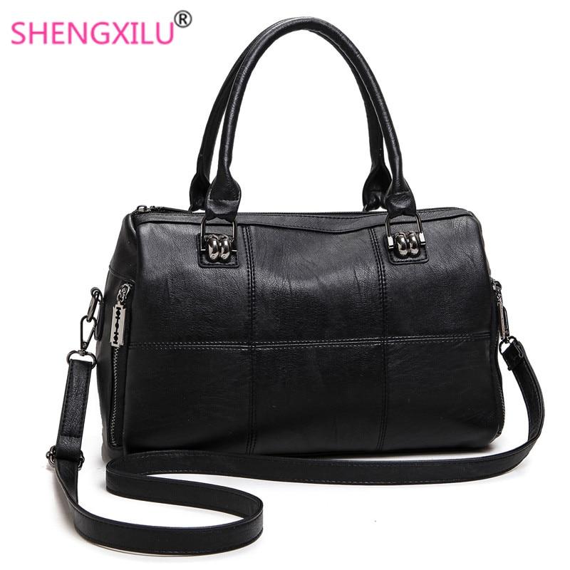 Shengxilu genuine leather women handbag summer female shoulder bag fashion ladies totes big brand ipad black crossbody women bag<br>