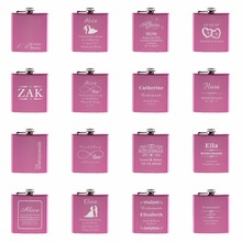 1 Piece Personalized Engraved 6 oz Pink Hip Flask Stainless Steel Wedding Birthday Valentine's Day Gift Favors(China)