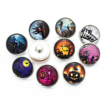 10pcs/lot Mix Styles Colors Halloween Snap Buttons Charms 18mm 12mm Glass Cabochon Fit DIY Snap Bracelets&Bangles Jewelry E3
