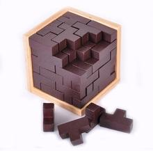 IQ 3D Wooden Puzzle Tetris Logic Educational Brain Teaser Puzzles Game Toys for Adults Kids