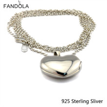 Pendants Compatible With European Jewelry 100% 925 Sterling Silver Love Locket, Clear CZ Authentic Original DIY Charms Wholesale