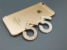 2pcs/lot Min.$15 (Mixed Order) 5cm*3.5cm Cell Phone Case DIY Charms Alloy Gold Number 5 Decoration Rhinestones AC082