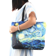 Starry Night Women Shoulder Bags Reusable Shopping Bag Large Capacity Female Handbags Girls Travel Shool Bag Packing Tote(China)
