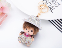 Casual Style Monchichi Lovely Big Round Hat Keychain Ornament For Bag Handbag Charms Accessory Car Pendant Lucky Product