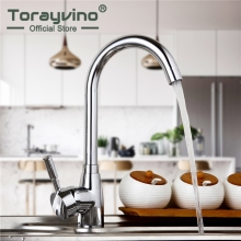 Torayvino Kitchen Sink New Kitchen Faucet Deck Mounted Chrome Polished Basin Faucet Hot%Cold Water Swivel Mixer Tap Kitchen Tap(China)