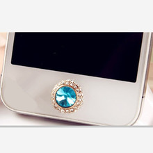 Udapakoo 2017 3D Crystal Bling Diamond Home Button Sticker for iPhone 4 5 5s SE 6 6s plus for Cell phones accessories in stock(China)