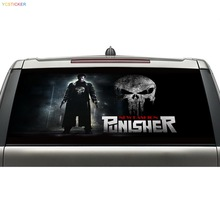 china supplier cool punisher design car graphics decal rear windshield see through vinyl sticker with water and grease proof(China)
