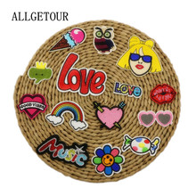 Free shipping 14pcs/lot mixed cartoon patches fashion Embroidered iron on patch for clothing Applique DIY Accessory(China)