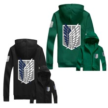 Attack On Titan Hoodie AOT Wings of Liberty Survey Corps Zip Up Hoody Green Black Hooded Sweatshirt Anime Cosplay for Adult Size(China)