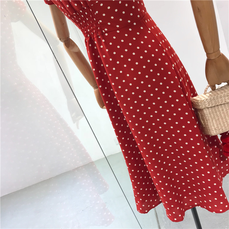 Flectit Vintage 80s Dress French Style Polka Dot Button Up Midi Dress Long Sleeve High Waisted Retro Holiday Dress Women 7