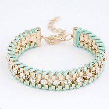F&U B312 New 2014 Fancy Brand Bracelets Women Jewelry Gift Gold Color hand-woven Rhinestone Chain Bracelets & Bangles!724