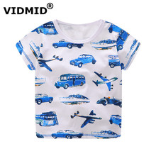 VIDMID Children T-shirt boys t shirt Tees Short sleeve shirts Summer Kids Tops Cartoon Baby Boy Clothing Cotton fireman car