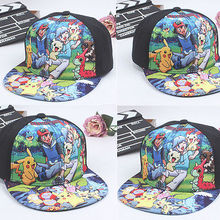 2016 Pokemon Go Pikachu Baseball Hat Boys Girls Kids Peaked Visor Snapback Print Cap