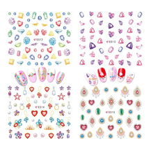 1PC 3D Fashion Style Charming Colorful Cartoon Diamonds Crown Cross Heart Nail Art Decals Manicure Tips DIY Stickers JIE512-522