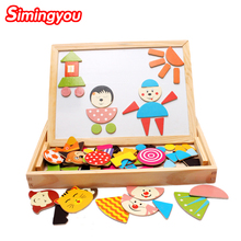 Simingyou Learning Education Puzzles For Children Multifunctional Wooden Family Magnetic Puzzle Drawing Board WDX28(China)