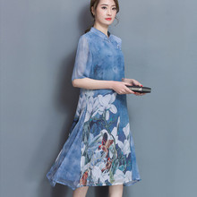 Buy New Fashion Vintage Large Size Women Collar Half Sleeve Slim Dress Cheongsam Silk A-line Dress for $25.24 in AliExpress store