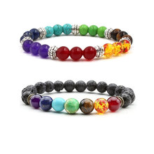 Buy Natural Stone Yoga Bracelet Women Healing Balance Men Black Lava Beads Reiki Buddha Prayer 7 Chakra Bracelet for $1.04 in AliExpress store