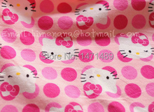 hk510A - 1 Yard Flannel Cotton Fabric - Sanrio Cartoon Characters, Pink Point and Hello Kitty - Pink (W105)
