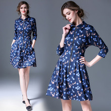 Buy High 2017 Women Clothing Spring Autumn Fashion Printting Womens Dresses Elegant Bodycon Midi Shirt Dress Vestidos FB2152 for $24.26 in AliExpress store