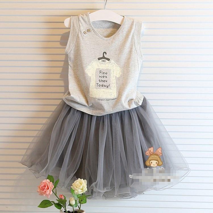 2016 summer new Korean version of the suit Girls sleeveless t-shirt + net veil Childrens suits style pretty wild<br><br>Aliexpress