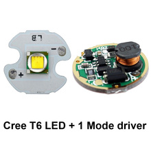 16mm Cree XM-L T6 LED Chip + 17mm single one mode 3V-18V Input Circuit Board for Cree XM-L L2 T6 U2 U3 XP-L V5 LED Flashlight(China)