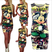2017 Fashion Women Summer Sleeveless Bodycon Camouflage Cartoon Mouse Military Letter Print Sexy Mini Dress Vestido Curto Cortos