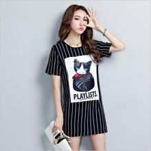Office Dress Promotion Short Robe Large Size Women's Clothing 2017 Summer Dress New Women Stripes Printed Fat Fashion M-xxxxxl