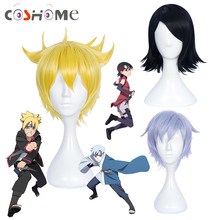 Coshome Naruto Boruto Cosplay Costume Wig Uchiha Sarada Mitsuki Black Yellow And Silver Short Wig With Headbands