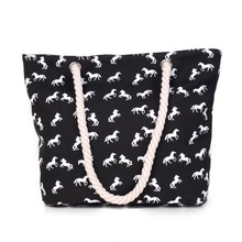 New Women Handbag Canvas bag Fashion Female Shoulder Beach Bag horse printing Casual Tote Fring Shopping Bags Bolsa Sac A Main