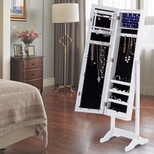 Goplus 2018 Mirrored Jewelry Cabinet Bedroom Armoire Standing Storage Organizer Led Light Wooden Necklace Storage Box HW54406(China)