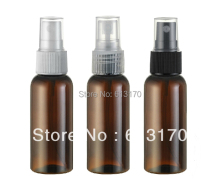 Free shipping 50ml  brown Empty pet spray bottle cosmetic plastic parfume fragrances bottles for women or men