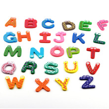 Trustworthy 2015 Hot Sale New Kids Toys 26pcs/set Wooden Cartoon Alphabet ABC~XYZ Magnets Child Educational Wooden Toy Gift(China)