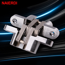 NAIERDI-4012 304 Stainless Steel Hidden Hinges 16x70MM Invisible Concealed Folding Door Hinge With Screw For Furniture Hardware(China)