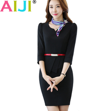 Buy formal elegant slim half sleeve clothing slim women one-piece dress spring OL fashion office ladies plus size work wear dresses for $27.13 in AliExpress store