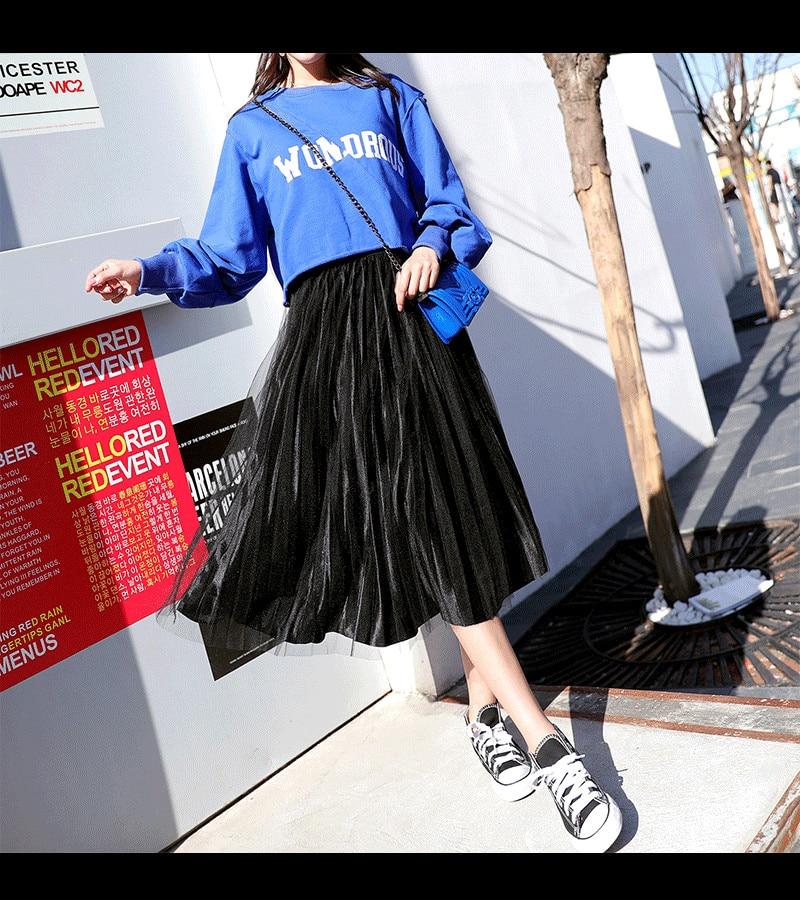 New Women Skirts Autumn Winter Female High Waist Vintage Pleated Mesh Pleuche Skirt Fashion Joker Lady Midi-Length Skirts WZ039