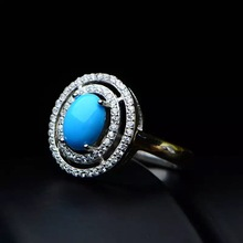 Haleigha 925 Sterling Silver Nature Gemstone Blue American Turquoise White Gold Color Good Planet Halo Round Rings for Women