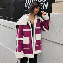 ANSFX Hairy Shaggy Faux Fur Patchwork Fuax Suede Jacket Lapel Faux Fur Long Coat Loose Mid Long Outerwear Purple Thick Warm Tops(China)