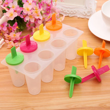 1 Set cooking tools 8-Cell Rectangle Shaped Reusable DIY  Ice Cream Pop Molds Ice Lolly Makers with Base 19.2x9.3x11cm