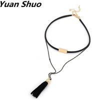 Accessories manufacturers selling fashionable new black rope yarn tassel necklaces double-deck Ms necklace neck chain(China)