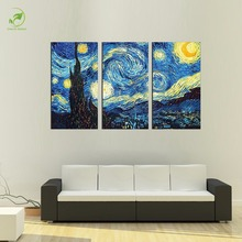 3pcs Masters Starry Night Vincent Van Gogh Prints Reputation Oil Painting On Canvas Wall Art Picture For Living Room Picture