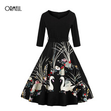 ORMELL 2017 Swan Print Vintage Dresses Summer Style 50s Elegant Party Dress With Sashes Spring Dress Three Quarter Dresses