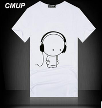Fashion Summer T-shirt Men brand casual cotton t shirts Men's Letter earphone printed Good Quality