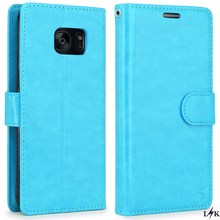 LK For Galaxy S7 Edge Wallet Case,Original Luxury PU Leather Case Flip with Card Slots & Stand For Samsung Galaxy S7 Edge blue